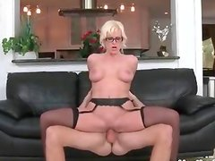 Thick blonde milf with big tits