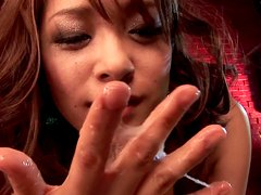 Lovely Asian slut Mihiro is giving a blowjob while handcuffed