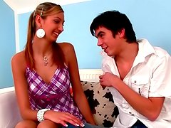Little bu skinny teen making blowjob with smiles