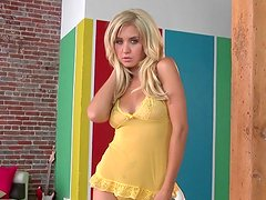 Sexy cutie Chrissy Marie taking off her cute yellow dress