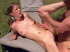 Perky pigtailed cheerleader gets boned outdoors