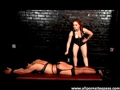 Bound girl caned by her mistress