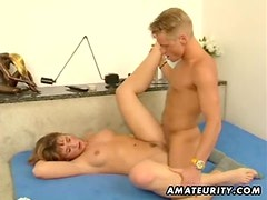 Young amateur couple homemade action with facial
