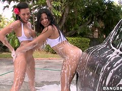 Sexy car wash transforms into amazing foursome banging in the yard