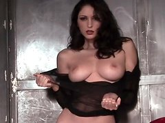 Carlotta Champagne poses for the cam in her fishnets