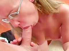 Cute blowjobloving babe Nina with glasses