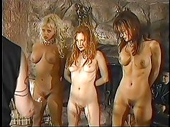 Trio of sexy BDSM slaves get spanked