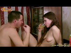 Couple drinking and fucking with oral too