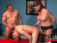 Strapon girl and guy take turns fucking his ass