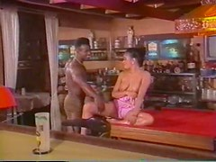 Retro babe gets her hairy pussy filled with black dick