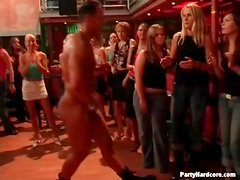 Amateur girls suck stripper cock at a party