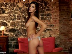 Perfect brunette babe Candice Luca will show her treasures