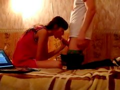 Russian brunette Shawna sucking in the bedroom