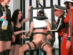 Three perverts humiliating that guy in mask