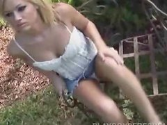 Danielle DuVall the sweet blonde lies naked on the lawn