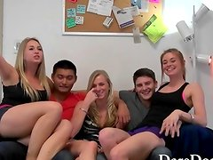 Amateur college teens get laid at a big dorm room party