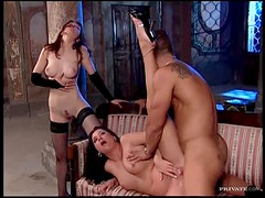 Two frisky sluts suck his cock ass to mouth