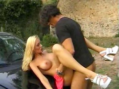 Group sex outdoors with Euro beauties