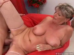 This naughty mature lady gets naked with this guy