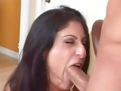Luscious Lopez chokes on this hard throbbing cock