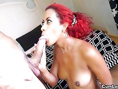 Afra red gives it her all sucking and fucking hard Dick