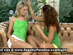 Brandy and Dominika from sapphic erotica lesbo girls teasing