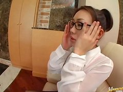 Asian Babe With Pantyhose and Glasses Gets Nailed