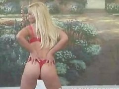 Mariya Phillips the hot blonde in red lingerie shows her beauties
