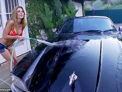 Sexy Alexa Nicole washes the car and masturbates on it