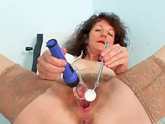 Curly mature nurse with hairy pussy Karla