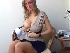 Busty blonde whore gets horny sucking