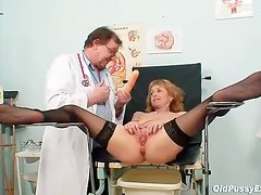 She keeps her stockings on during gyno exam
