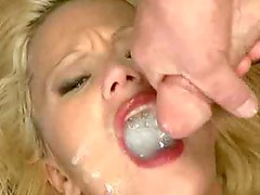 Slutty blonde whore swallows many men