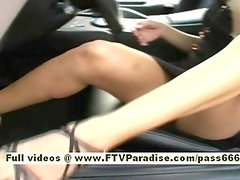 Rene naked redhead babe in car