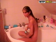 Slim brown-haired girl feels a bit shy while riding her BF's dick