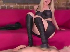 Domina mistress tramples sub before footjob