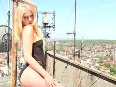 Sexy blonde Martina Rajic doesn't feel shy while posing nude for a cam