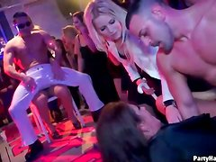 Male strippers sucked by hotties at the party