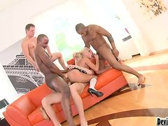 Sarah Lewis gets all of her holes drilled by a few cocks
