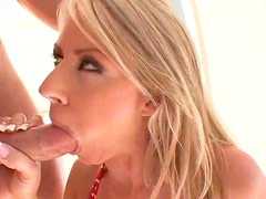 Sexy masturbating blonde sucks a dick