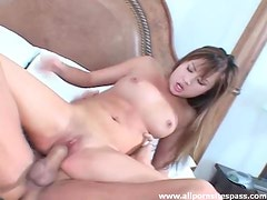 Petite Asian nailed in tight cunt by monster cock