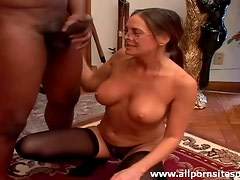 Milf with sexy tits sucks off black cock
