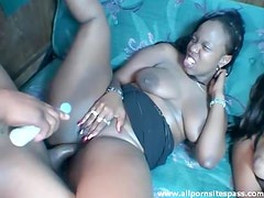 Two chubby black chicks fucked by BBC
