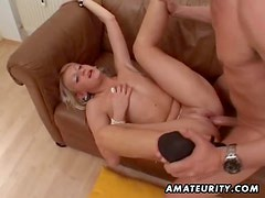Hot blonde amateur girlfriend sucks and fucks with cum in mouth