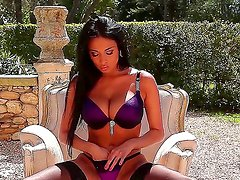 Superb brunette Anissa Kate enjoys sensual outdoor solo masturbating session