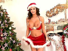 Black Angelica gets naughty and wild while masturbating in christmas costume