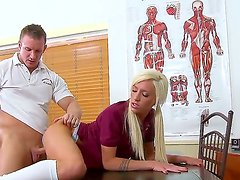 Blonde Maia Davis loves to be spanked while hard fucked in her tight pussy