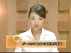 Japanese reporter cummed on