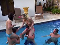 Marissa Jordan and Skarlit Knight are enjoying hot and horny pool party along hunks with huge dicks