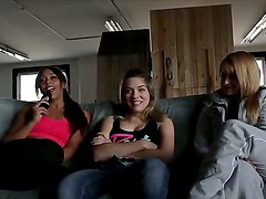 Three ardent and slutty college chicks Lea Lexis, Leilani Leeane and Lia Lor talking about hot actions